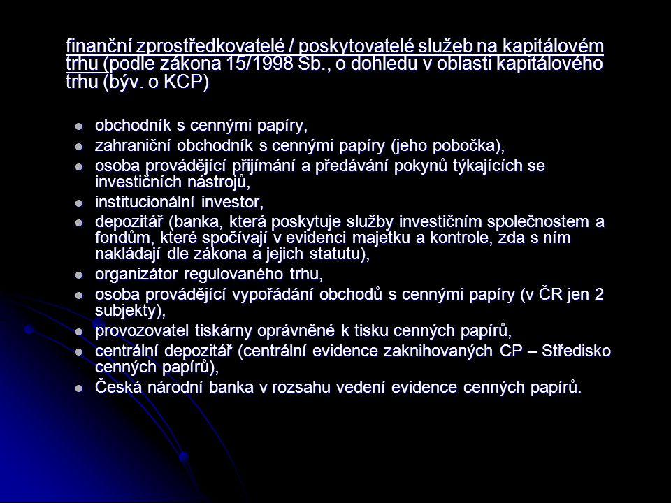 finanční zprostředkovatelé / poskytovatelé služeb na kapitálovém trhu (podle zákona 15/1998 Sb., o dohledu v oblasti kapitálového trhu (býv. o KCP) ob
