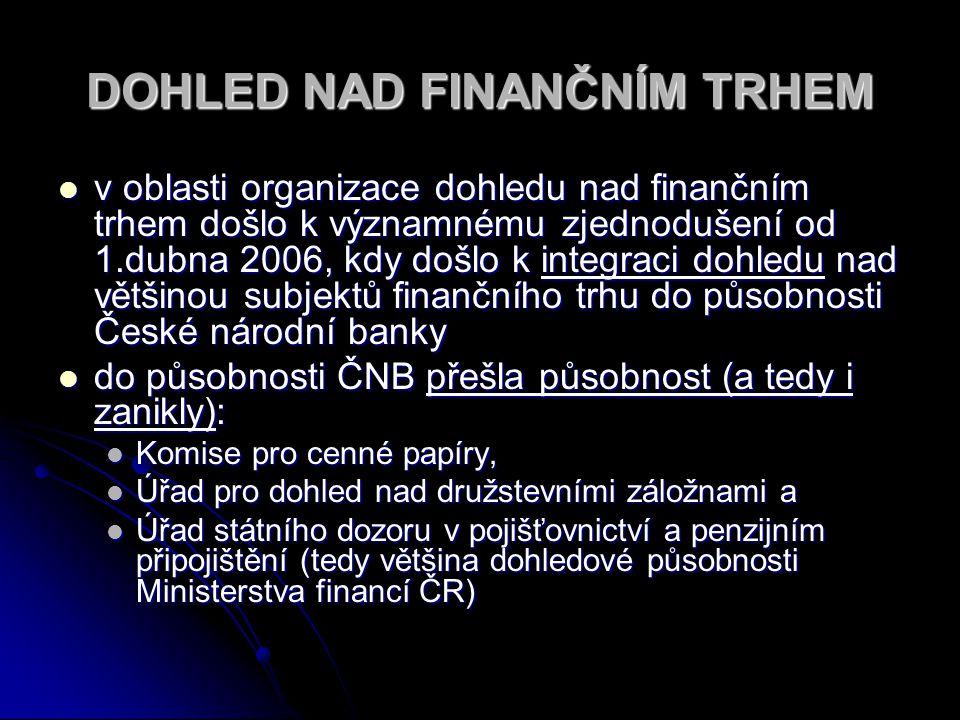 DOHLED NAD FINANČNÍM TRHEM v oblasti organizace dohledu nad finančním trhem došlo k významnému zjednodušení od 1.dubna 2006, kdy došlo k integraci doh