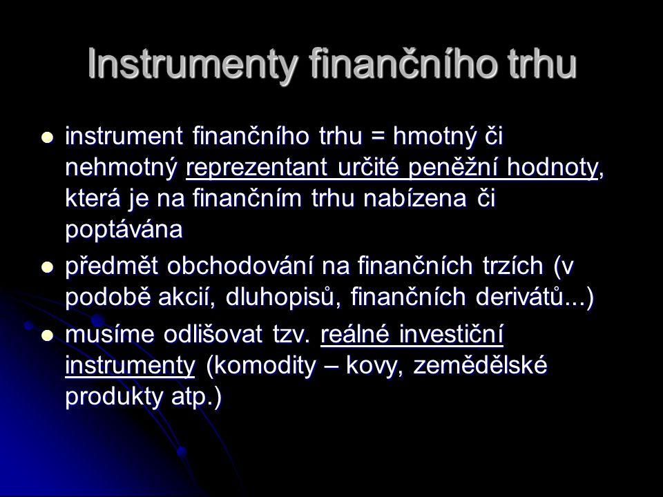 Instrumenty finančního trhu instrument finančního trhu = hmotný či nehmotný reprezentant určité peněžní hodnoty, která je na finančním trhu nabízena č