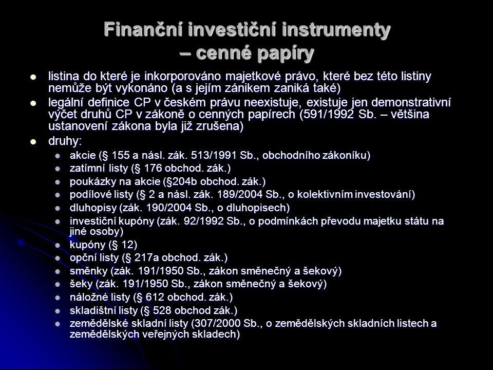 Finanční investiční instrumenty – cenné papíry listina do které je inkorporováno majetkové právo, které bez této listiny nemůže být vykonáno (a s její