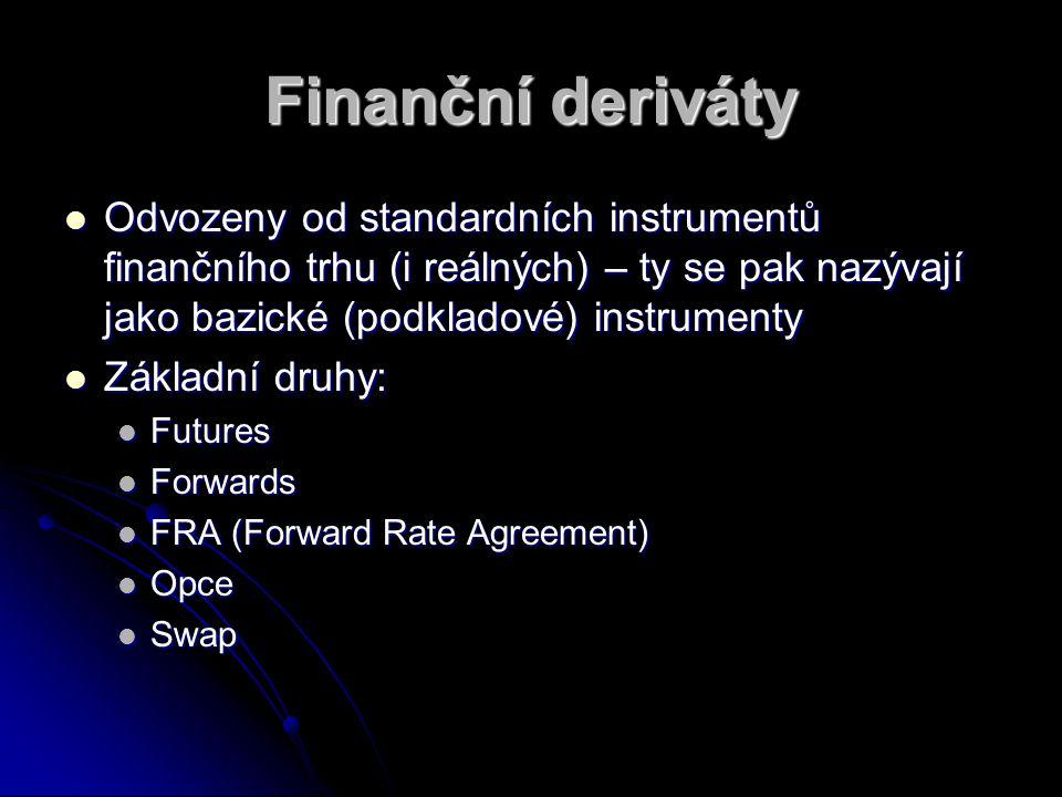 Finanční deriváty Odvozeny od standardních instrumentů finančního trhu (i reálných) – ty se pak nazývají jako bazické (podkladové) instrumenty Odvozen