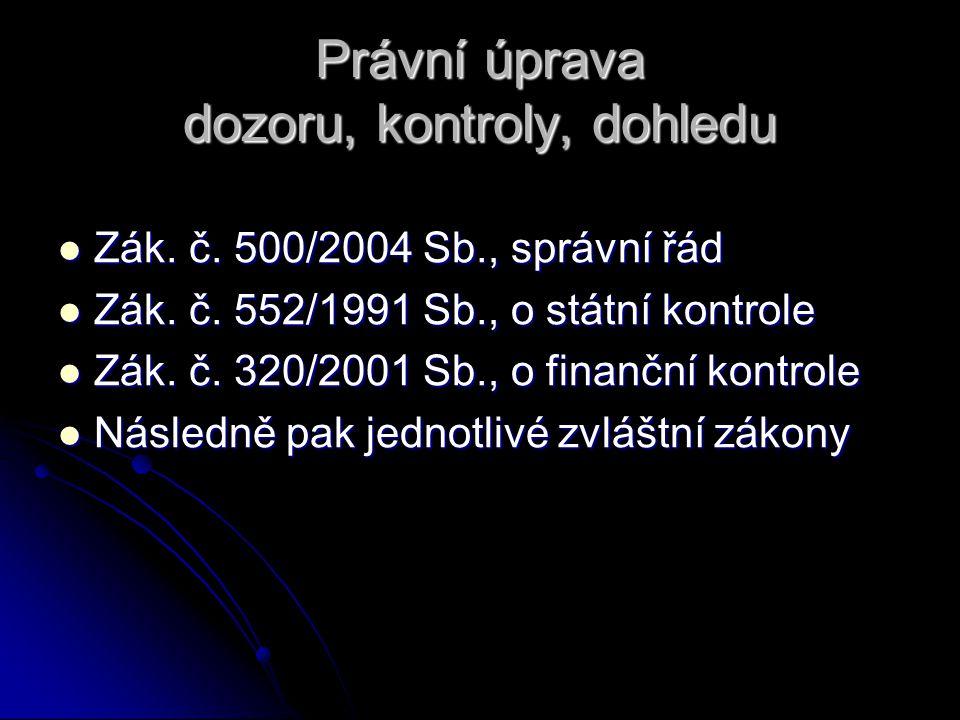Právní úprava dozoru, kontroly, dohledu Zák. č. 500/2004 Sb., správní řád Zák. č. 500/2004 Sb., správní řád Zák. č. 552/1991 Sb., o státní kontrole Zá