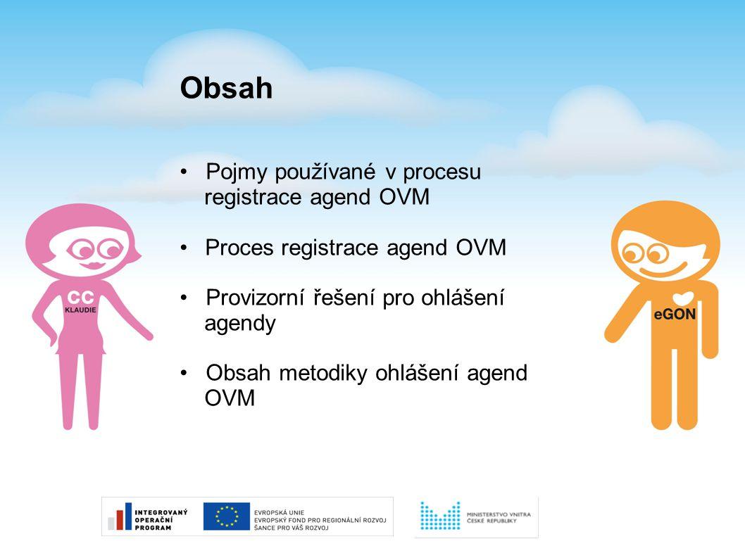 Obsah Pojmy používané v procesu registrace agend OVM Proces registrace agend OVM Provizorní řešení pro ohlášení agendy Obsah metodiky ohlášení agend O