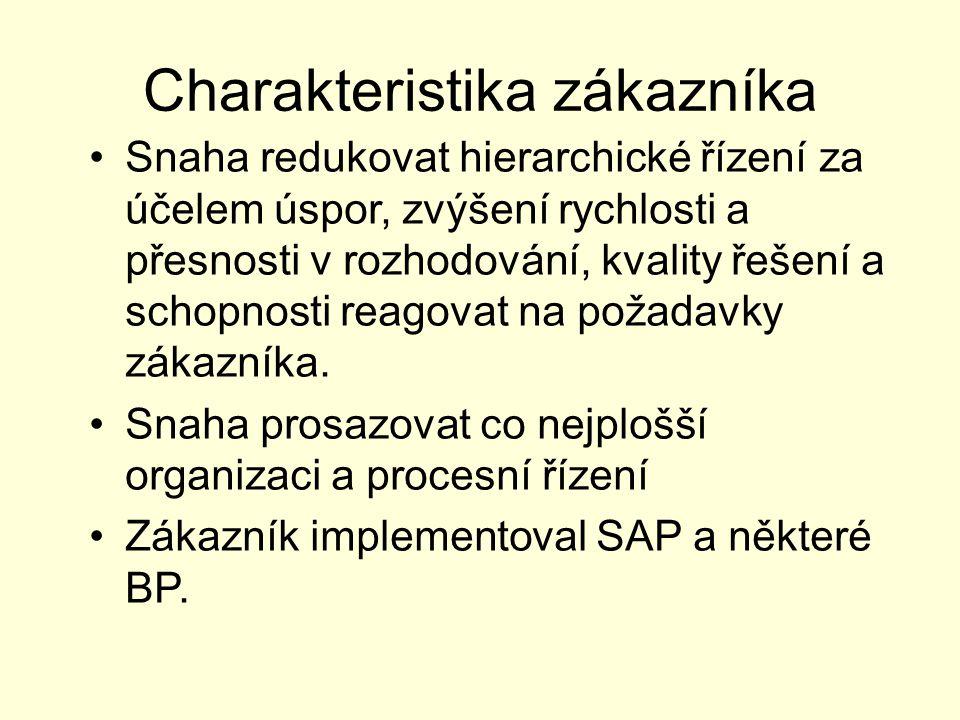 Charakteristika zákazníka Snaha redukovat hierarchické řízení za účelem úspor, zvýšení rychlosti a přesnosti v rozhodování, kvality řešení a schopnost