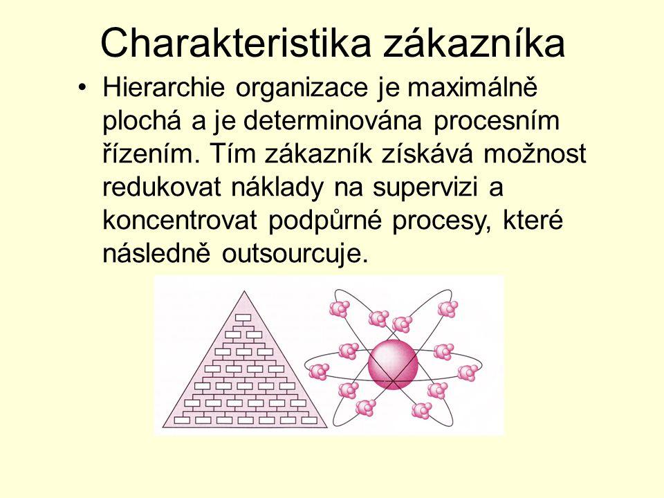 Charakteristika zákazníka Hierarchie organizace je maximálně plochá a je determinována procesním řízením. Tím zákazník získává možnost redukovat nákla