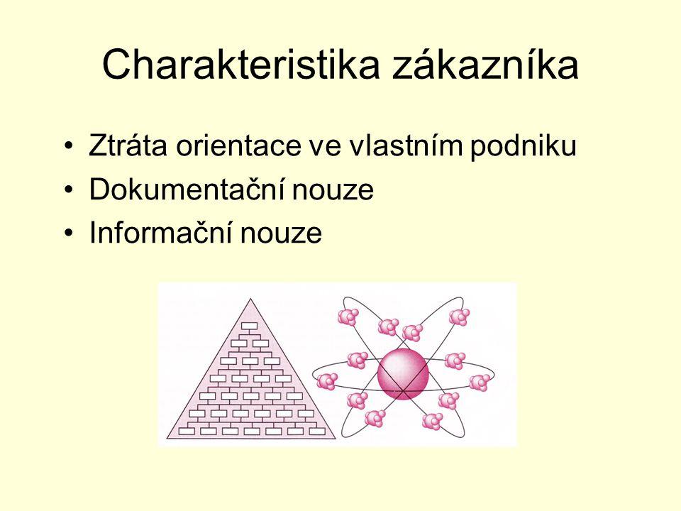 Charakteristika zákazníka Ztráta orientace ve vlastním podniku Dokumentační nouze Informační nouze