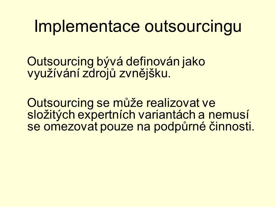 Implementace outsourcingu Outsourcing bývá definován jako využívání zdrojů zvnějšku. Outsourcing se může realizovat ve složitých expertních variantách