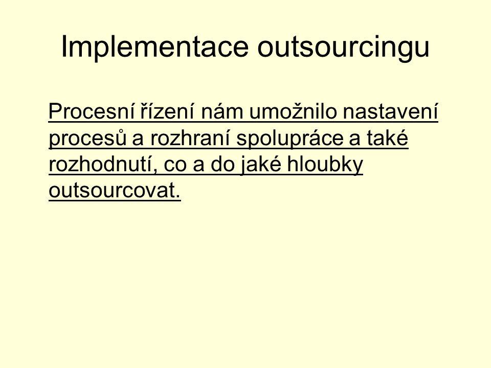 Implementace outsourcingu Procesní řízení nám umožnilo nastavení procesů a rozhraní spolupráce a také rozhodnutí, co a do jaké hloubky outsourcovat.