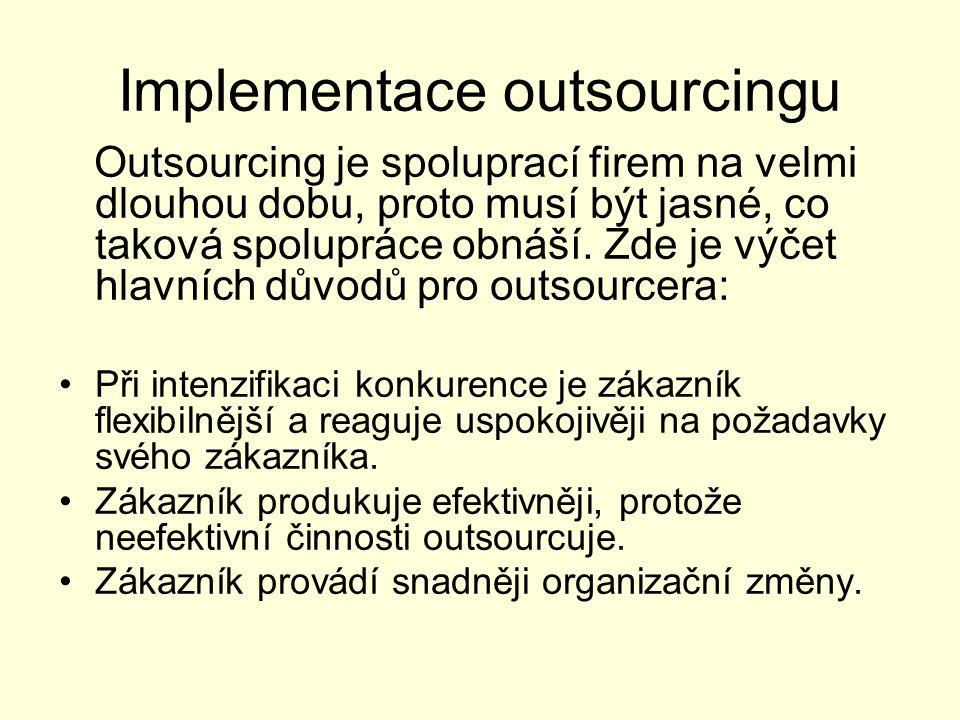 Implementace outsourcingu Outsourcing je spoluprací firem na velmi dlouhou dobu, proto musí být jasné, co taková spolupráce obnáší. Zde je výčet hlavn