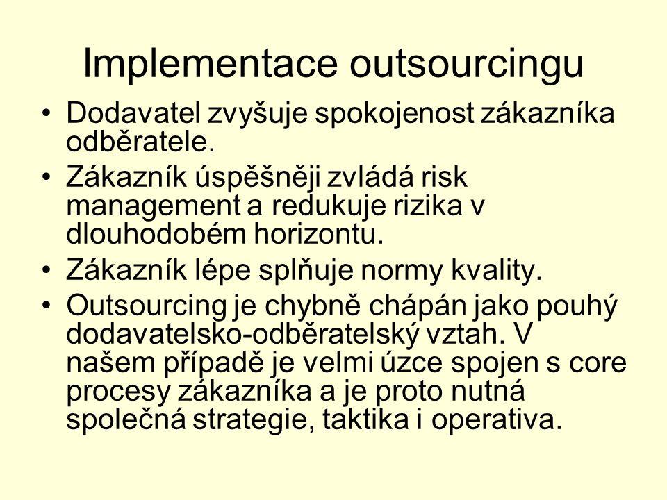 Implementace outsourcingu Dodavatel zvyšuje spokojenost zákazníka odběratele. Zákazník úspěšněji zvládá risk management a redukuje rizika v dlouhodobé