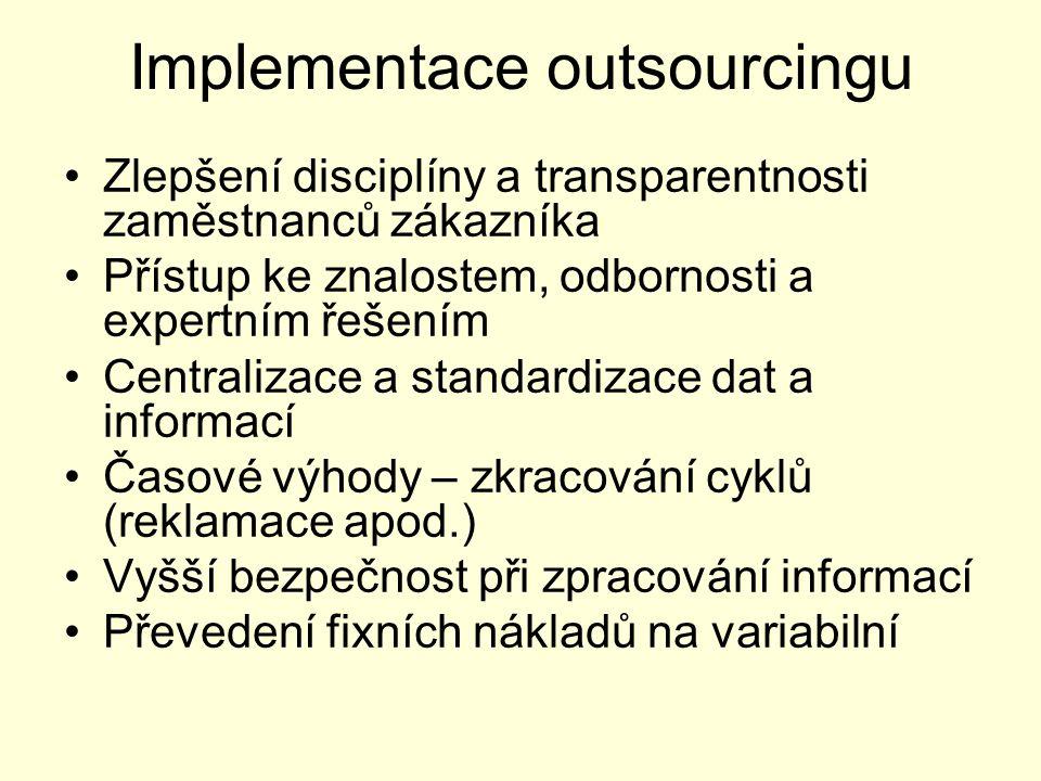 Implementace outsourcingu Zlepšení disciplíny a transparentnosti zaměstnanců zákazníka Přístup ke znalostem, odbornosti a expertním řešením Centralizace a standardizace dat a informací Časové výhody – zkracování cyklů (reklamace apod.) Vyšší bezpečnost při zpracování informací Převedení fixních nákladů na variabilní