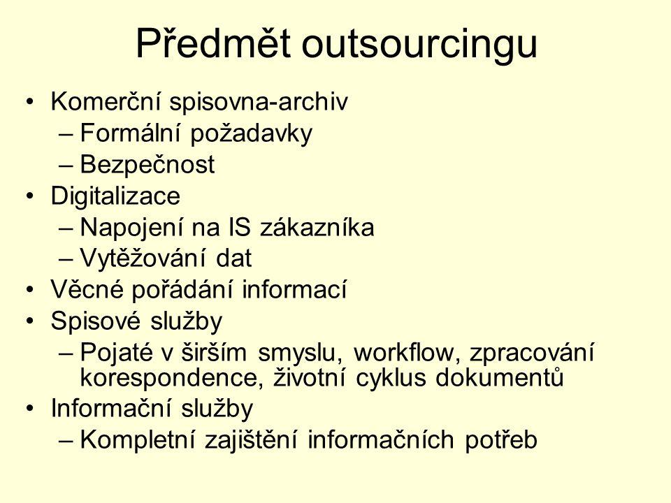 Předmět outsourcingu Komerční spisovna-archiv –Formální požadavky –Bezpečnost Digitalizace –Napojení na IS zákazníka –Vytěžování dat Věcné pořádání in