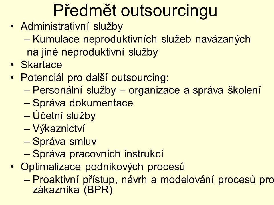 Předmět outsourcingu Administrativní služby –Kumulace neproduktivních služeb navázaných na jiné neproduktivní služby Skartace Potenciál pro další outsourcing: –Personální služby – organizace a správa školení –Správa dokumentace –Účetní služby –Výkaznictví –Správa smluv –Správa pracovních instrukcí Optimalizace podnikových procesů –Proaktivní přístup, návrh a modelování procesů pro zákazníka (BPR)