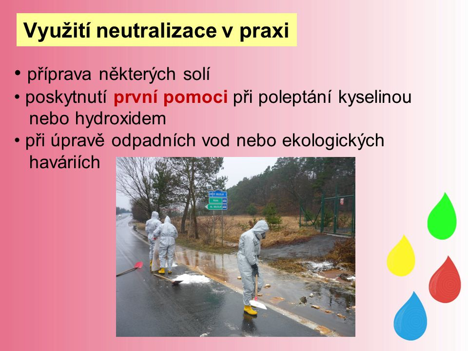 příprava některých solí poskytnutí první pomoci při poleptání kyselinou nebo hydroxidem při úpravě odpadních vod nebo ekologických haváriích Využití neutralizace v praxi