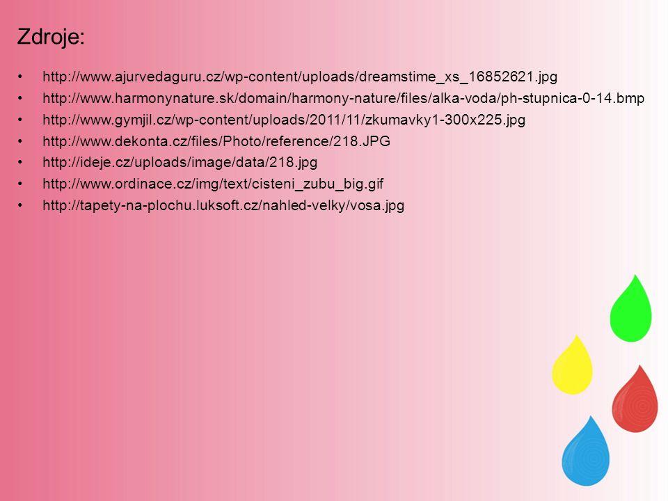 Zdroje: http://www.ajurvedaguru.cz/wp-content/uploads/dreamstime_xs_16852621.jpg http://www.harmonynature.sk/domain/harmony-nature/files/alka-voda/ph-stupnica-0-14.bmp http://www.gymjil.cz/wp-content/uploads/2011/11/zkumavky1-300x225.jpg http://www.dekonta.cz/files/Photo/reference/218.JPG http://ideje.cz/uploads/image/data/218.jpg http://www.ordinace.cz/img/text/cisteni_zubu_big.gif http://tapety-na-plochu.luksoft.cz/nahled-velky/vosa.jpg