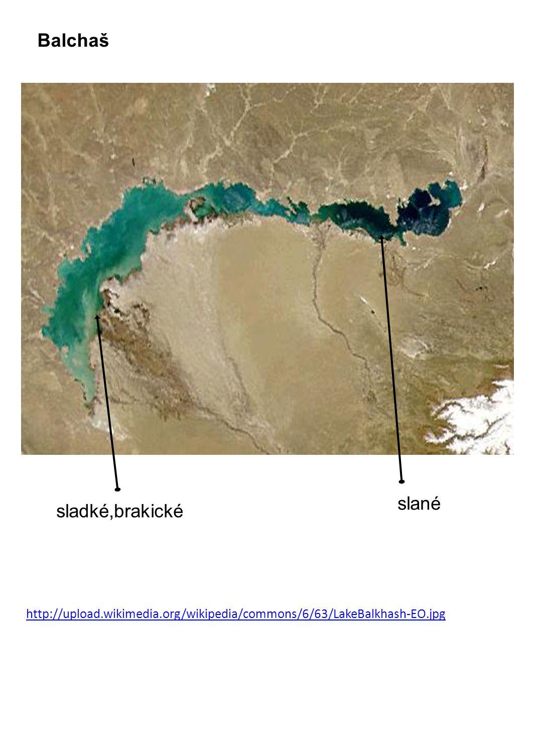 Balchaš slané sladké,brakické http://upload.wikimedia.org/wikipedia/commons/6/63/LakeBalkhash-EO.jpg