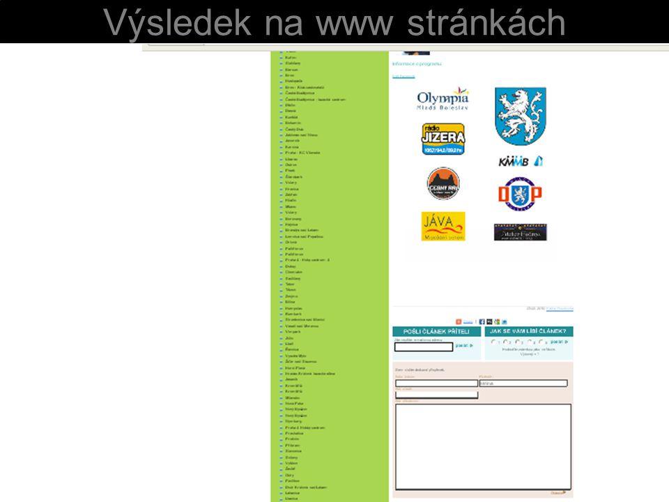 Výsledek na www stránkách