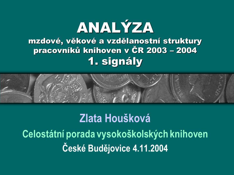 ANALÝZA mzdové, věkové a vzdělanostní struktury pracovníků knihoven v ČR 2003 – 2004 1.