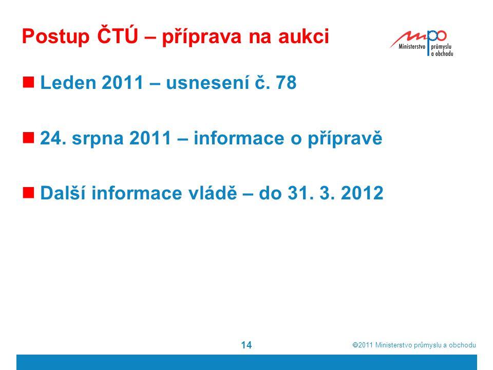  2011  Ministerstvo průmyslu a obchodu Postup ČTÚ – příprava na aukci Leden 2011 – usnesení č.