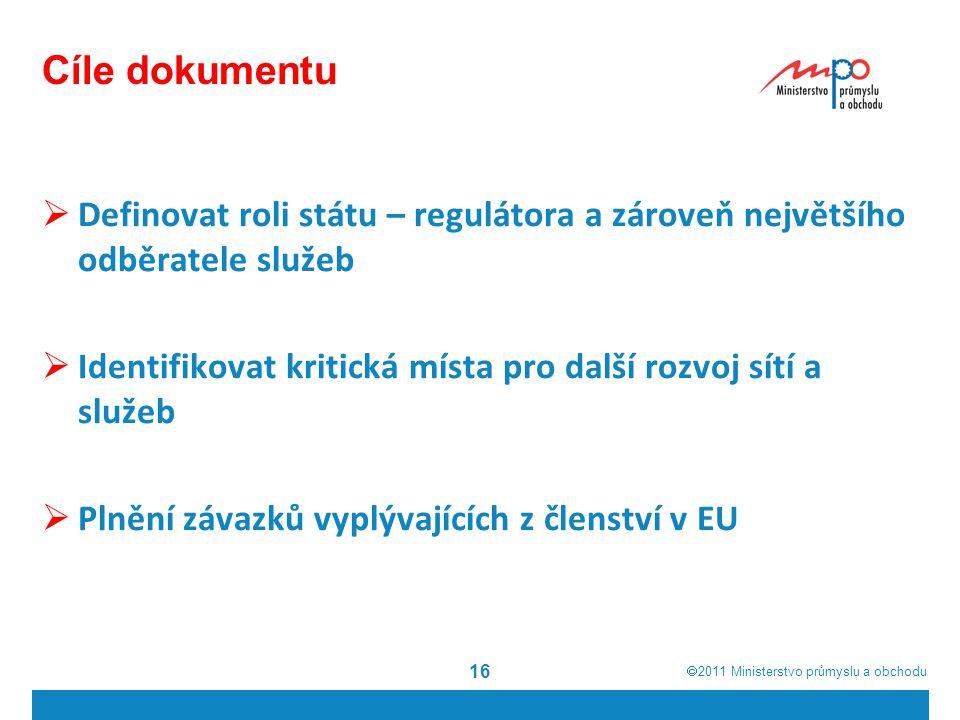  2011  Ministerstvo průmyslu a obchodu Cíle dokumentu  Definovat roli státu – regulátora a zároveň největšího odběratele služeb  Identifikovat kritická místa pro další rozvoj sítí a služeb  Plnění závazků vyplývajících z členství v EU 16
