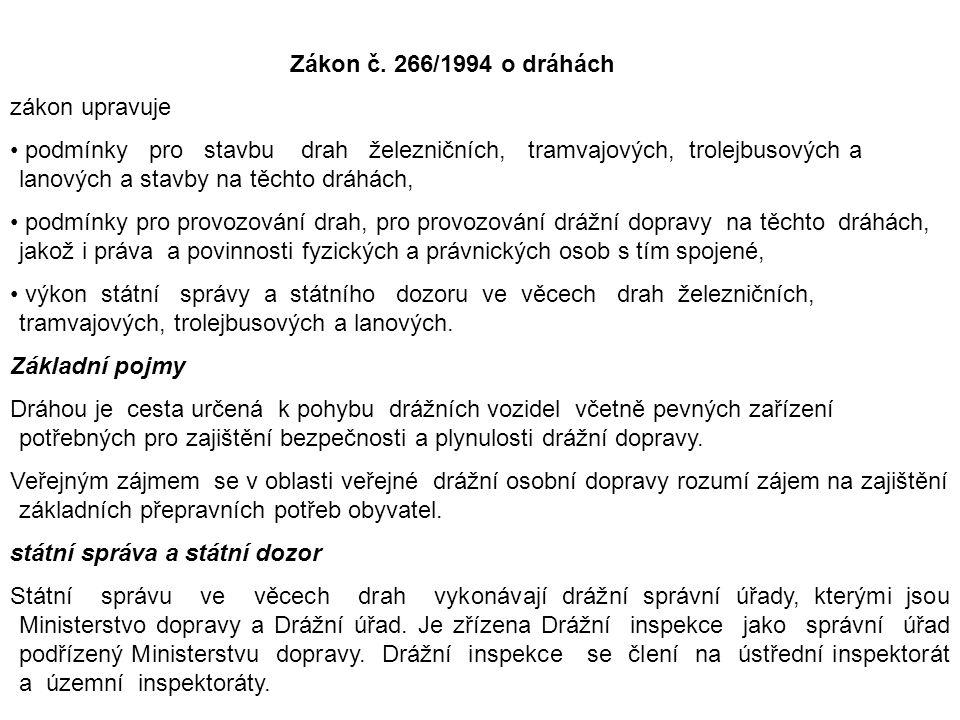 Zákon č. 266/1994 o dráhách zákon upravuje podmínky pro stavbu drah železničních, tramvajových, trolejbusových a lanových a stavby na těchto dráhách,