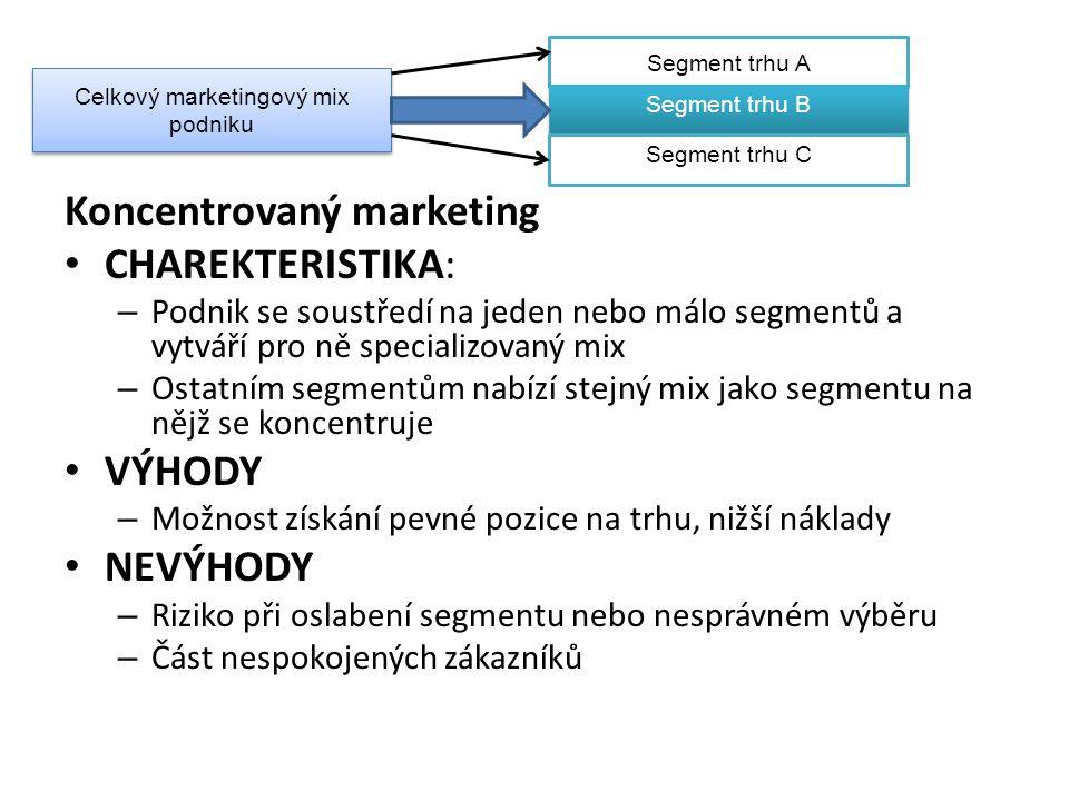 Koncentrovaný marketing CHAREKTERISTIKA: – Podnik se soustředí na jeden nebo málo segmentů a vytváří pro ně specializovaný mix – Ostatním segmentům na