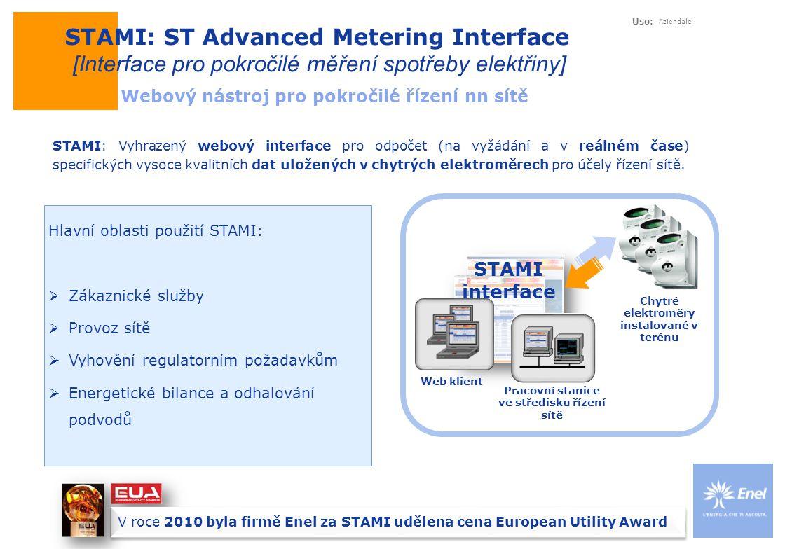 Uso: Aziendale STAMI: ST Advanced Metering Interface [Interface pro pokročilé měření spotřeby elektřiny] Webový nástroj pro pokročilé řízení nn sítě STAMI: Vyhrazený webový interface pro odpočet (na vyžádání a v reálném čase) specifických vysoce kvalitních dat uložených v chytrých elektroměrech pro účely řízení sítě.