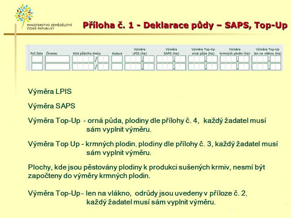 Příklad předtištěné deklarace půdy: Předtištěný součet výměr jen u údaje LPIS.