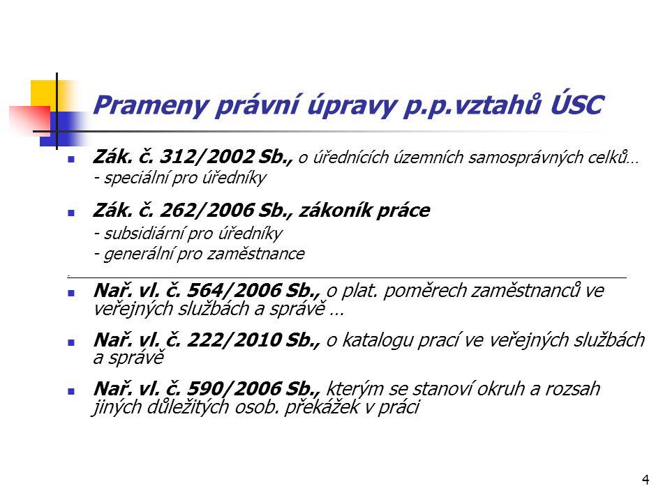 4 Prameny právní úpravy p.p.vztahů ÚSC Zák. č. 312/2002 Sb., o úřednících územních samosprávných celků… - speciální pro úředníky Zák. č. 262/2006 Sb.,