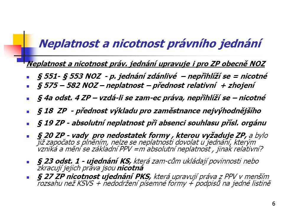 66 Neplatnost a nicotnost právního jednání Neplatnost a nicotnost práv. jednání upravuje i pro ZP obecně NOZ § 551- § 553 NOZ - p. jednání zdánlivé –