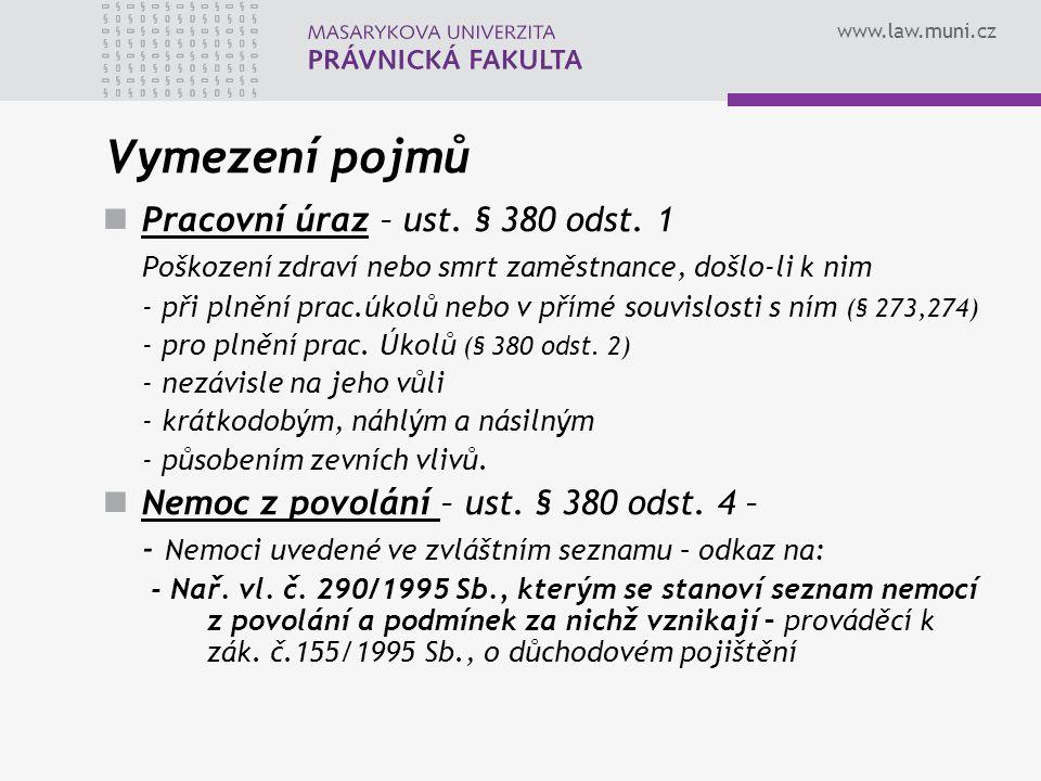 www.law.muni.cz Vymezení pojmů Pracovní úraz – ust.