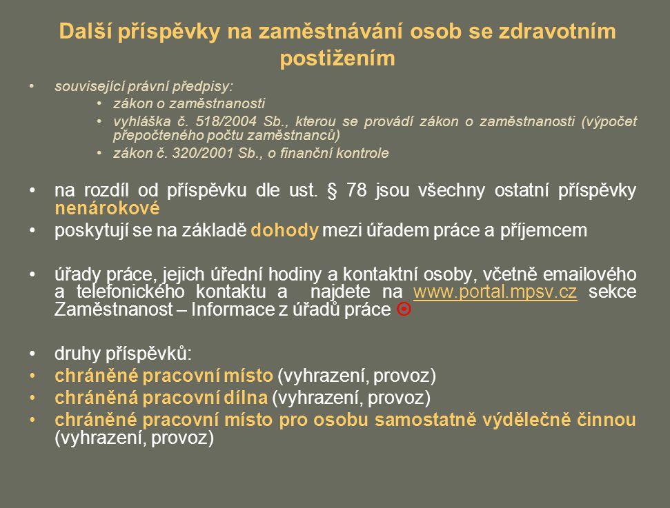 Další příspěvky na zaměstnávání osob se zdravotním postižením související právní předpisy: zákon o zaměstnanosti vyhláška č. 518/2004 Sb., kterou se p