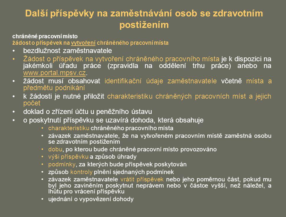 Další příspěvky na zaměstnávání osob se zdravotním postižením chráněné pracovní místo žádost o příspěvek na vytvoření chráněného pracovní místa bezdlužnost zaměstnavatele Žádost o příspěvek na vytvoření chráněného pracovního místa je k dispozici na jakémkoli úřadu práce (zpravidla na oddělení trhu práce) anebo na www.portal.mpsv.cz.