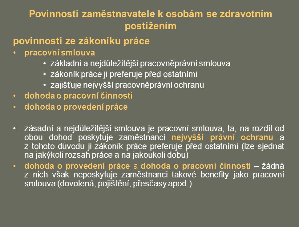Povinnosti zaměstnavatele k osobám se zdravotním postižením povinnosti ze zákoníku práce pracovní smlouva základní a nejdůležitější pracovněprávní sml