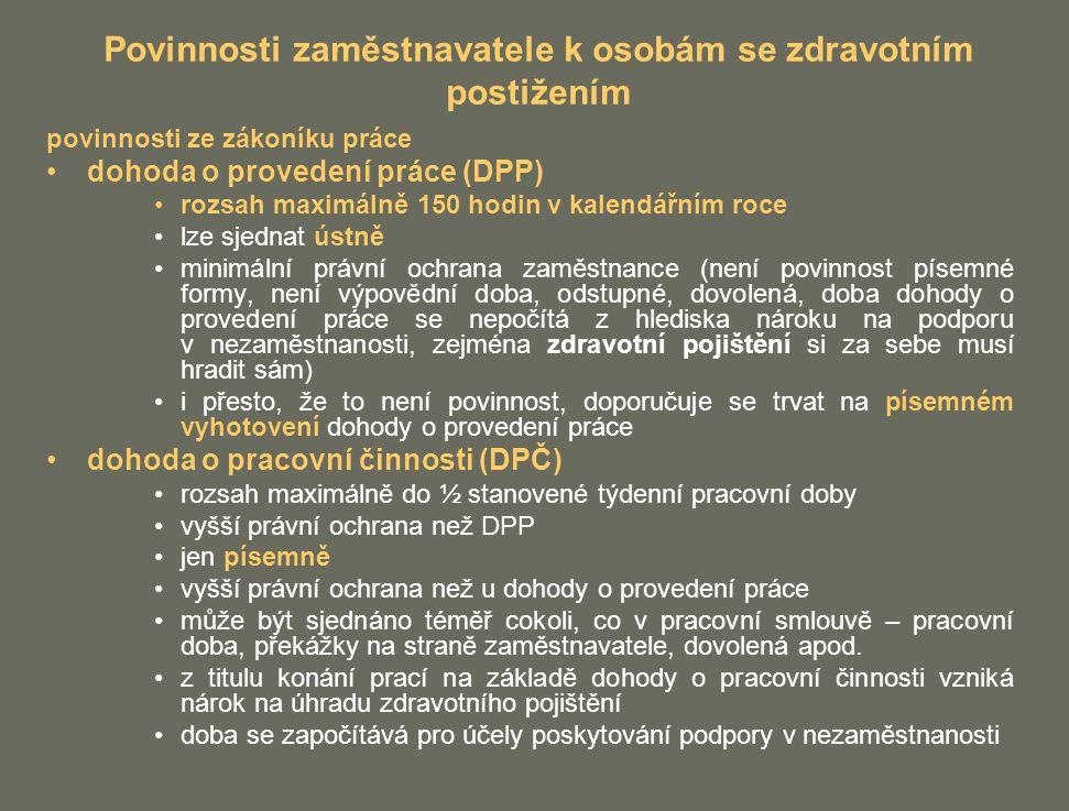 Povinnosti zaměstnavatele k osobám se zdravotním postižením povinnosti ze zákoníku práce dohoda o provedení práce (DPP) rozsah maximálně 150 hodin v k