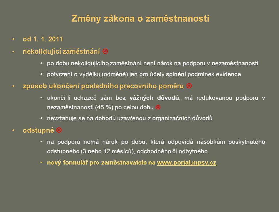 Změny zákona o zaměstnanosti od 1. 1. 2011 nekolidující zaměstnání  po dobu nekolidujícího zaměstnání není nárok na podporu v nezaměstnanosti potvrze