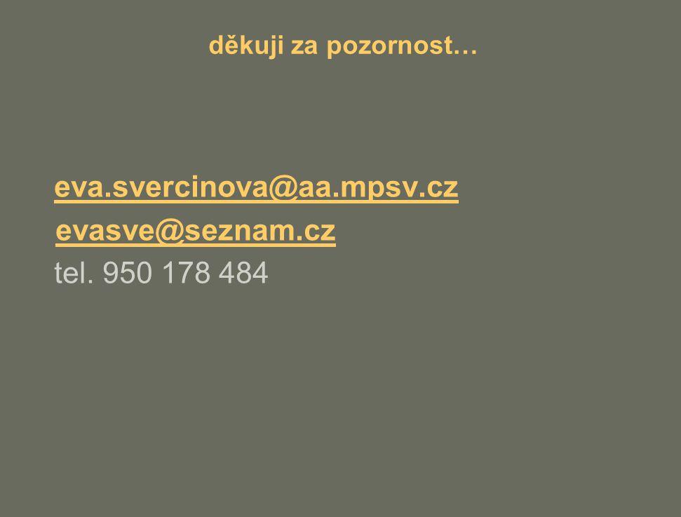 děkuji za pozornost… eva.svercinova@aa.mpsv.cz evasve@seznam.cz tel. 950 178 484