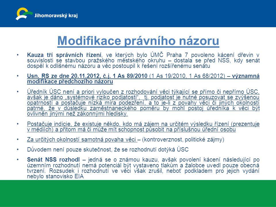 Modifikace právního názoru Kauza tří správních řízení, ve kterých bylo ÚMČ Praha 7 povoleno kácení dřevin v souvislosti se stavbou pražského městského