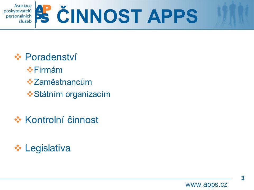 3 ČINNOST APPS  Poradenství  Firmám  Zaměstnancům  Státním organizacím  Kontrolní činnost  Legislativa www.apps.cz