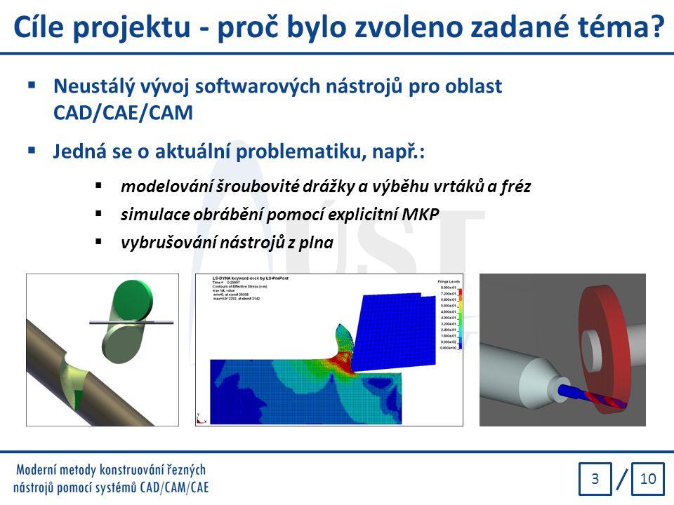 103 Cíle projektu - proč bylo zvoleno zadané téma?  Neustálý vývoj softwarových nástrojů pro oblast CAD/CAE/CAM  Jedná se o aktuální problematiku, n