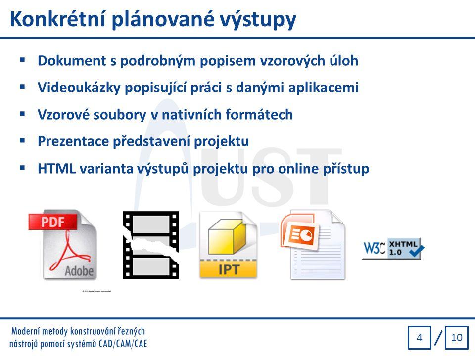 104 Konkrétní plánované výstupy  Dokument s podrobným popisem vzorových úloh  Videoukázky popisující práci s danými aplikacemi  Vzorové soubory v n