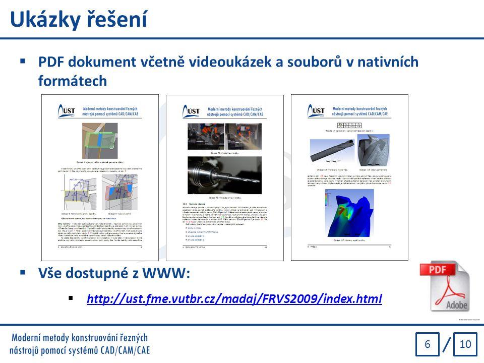 106 Ukázky řešení  PDF dokument včetně videoukázek a souborů v nativních formátech  Vše dostupné z WWW:  http://ust.fme.vutbr.cz/madaj/FRVS2009/ind