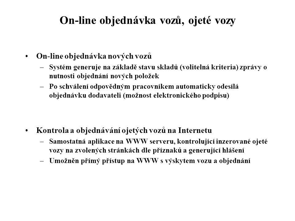 On-line objednávka vozů, ojeté vozy On-line objednávka nových vozů –Systém generuje na základě stavu skladů (volitelná kriteria) zprávy o nutnosti objednání nových položek –Po schválení odpovědným pracovníkem automaticky odesílá objednávku dodavateli (možnost elektronického podpisu) Kontrola a objednávání ojetých vozů na Internetu –Samostatná aplikace na WWW serveru, kontrolující inzerované ojeté vozy na zvolených stránkách dle příznaků a generující hlášení –Umožněn přímý přístup na WWW s výskytem vozu a objednání