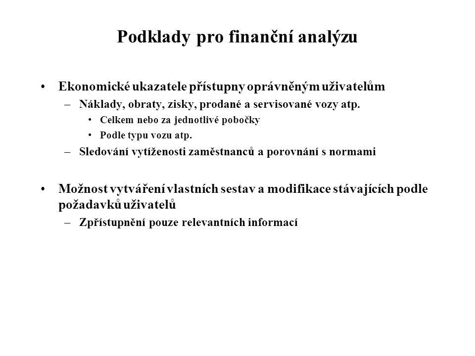 Podklady pro finanční analýzu Ekonomické ukazatele přístupny oprávněným uživatelům –Náklady, obraty, zisky, prodané a servisované vozy atp.