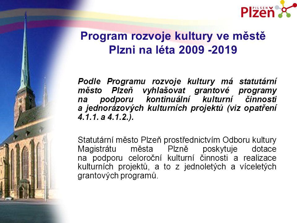 Program rozvoje kultury ve městě Plzni na léta 2009 -2019 Podle Programu rozvoje kultury má statutární město Plzeň vyhlašovat grantové programy na podporu kontinuální kulturní činnosti a jednorázových kulturních projektů (viz opatření 4.1.1.