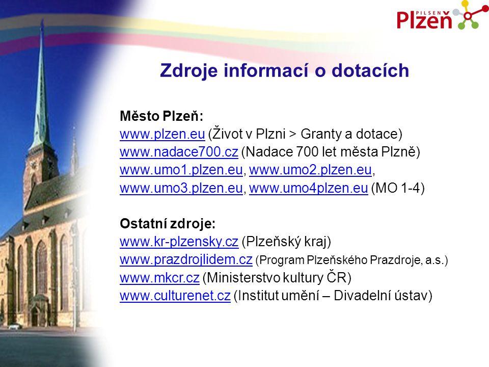 Zdroje informací o dotacích Město Plzeň: www.plzen.euwww.plzen.eu (Život v Plzni > Granty a dotace) www.nadace700.czwww.nadace700.cz (Nadace 700 let města Plzně) www.umo1.plzen.euwww.umo1.plzen.eu, www.umo2.plzen.eu,www.umo2.plzen.eu www.umo3.plzen.euwww.umo3.plzen.eu, www.umo4plzen.eu (MO 1-4)www.umo4plzen.eu Ostatní zdroje: www.kr-plzensky.czwww.kr-plzensky.cz (Plzeňský kraj) www.prazdrojlidem.czwww.prazdrojlidem.cz (Program Plzeňského Prazdroje, a.s.) www.mkcr.czwww.mkcr.cz (Ministerstvo kultury ČR) www.culturenet.czwww.culturenet.cz (Institut umění – Divadelní ústav)