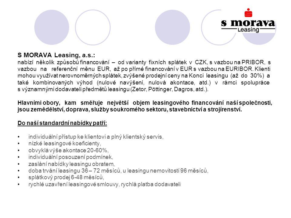 S MORAVA Leasing, a.s.: nabízí několik způsobů financování – od varianty fixních splátek v CZK, s vazbou na PRIBOR, s vazbou na referenční měnu EUR, až po přímé financování v EUR s vazbou na EURIBOR.