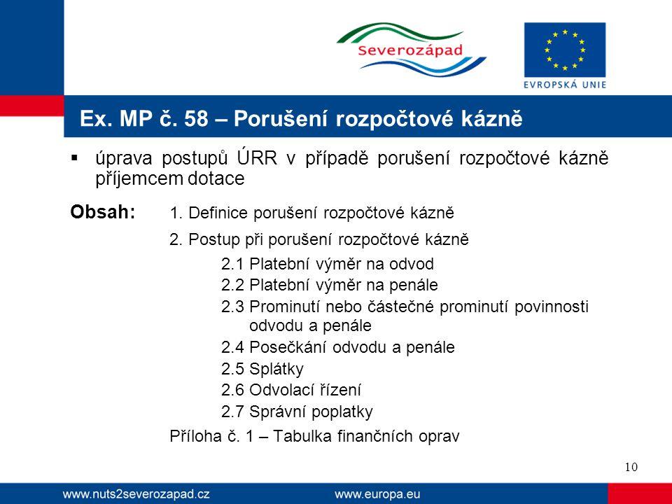 Ex. MP č. 58 – Porušení rozpočtové kázně  úprava postupů ÚRR v případě porušení rozpočtové kázně příjemcem dotace Obsah: 1. Definice porušení rozpočt