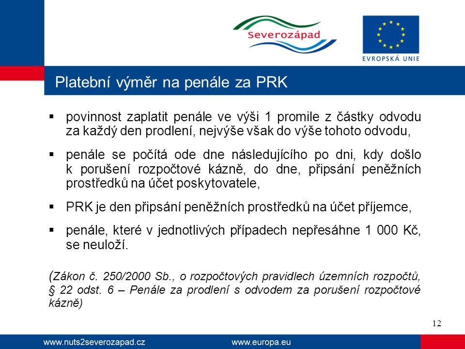 Platební výměr na penále za PRK  povinnost zaplatit penále ve výši 1 promile z částky odvodu za každý den prodlení, nejvýše však do výše tohoto odvod