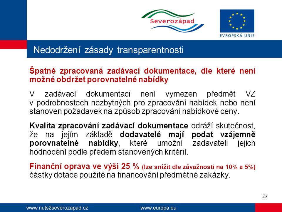 Nedodržení zásady transparentnosti Špatně zpracovaná zadávací dokumentace, dle které není možné obdržet porovnatelné nabídky V zadávací dokumentaci ne